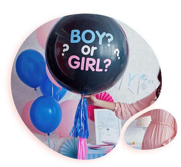 Шар 80 см с гелием, шариками, конфетти на определение пола ребенка (BabyShower)